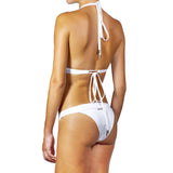 Swimwear - White Halter Bikini Top with Swarovski Crystals -  Thalassa Boom - 9