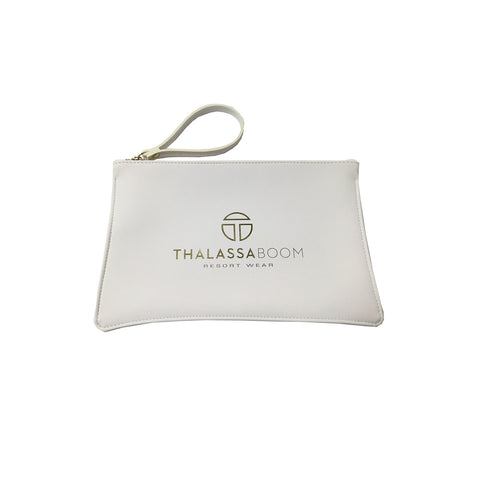 "Handbags, White Pouch ""Too Glam To Give a Damn"", Thalassa Boom Resort Wear"