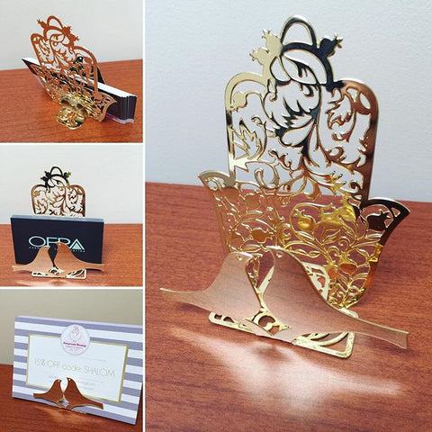 Metal Plated Hamsa Business Card Holder - Featuring Doves & Pomegranates