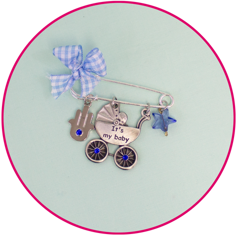 Baby Blessing Pin with Carriage Decoration for Stroller or Carseat