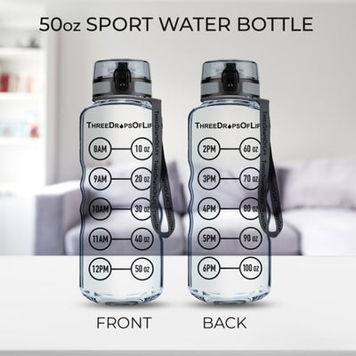 50 oz Clear Sports Water Bottle - High Capacity Hydration