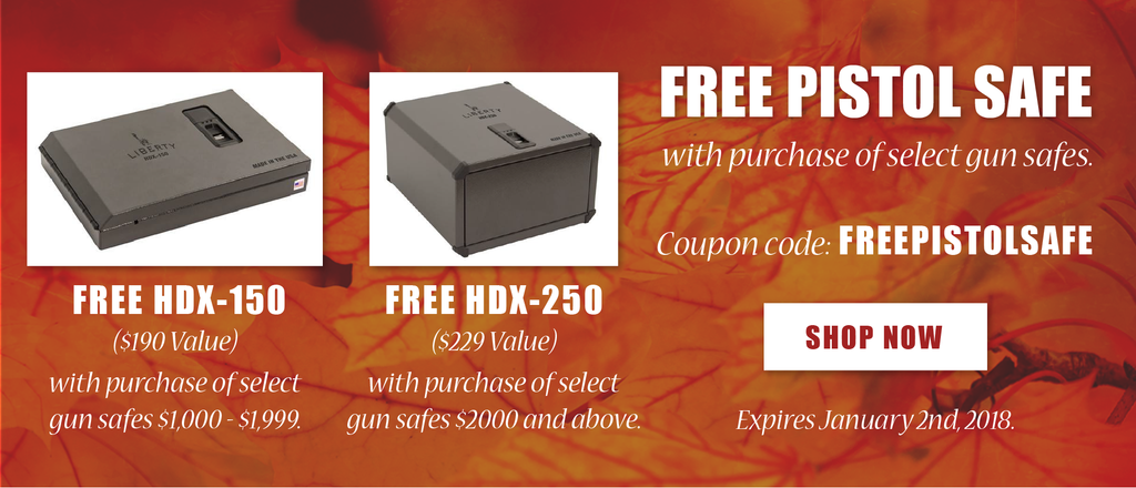 FREE Pistol Safe with Purchase of Select Gun Safes