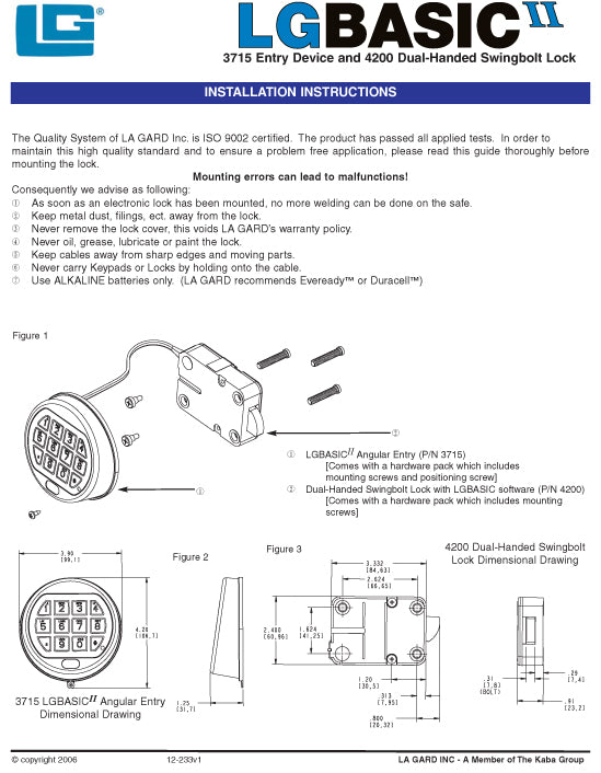lagard safe lock instructions