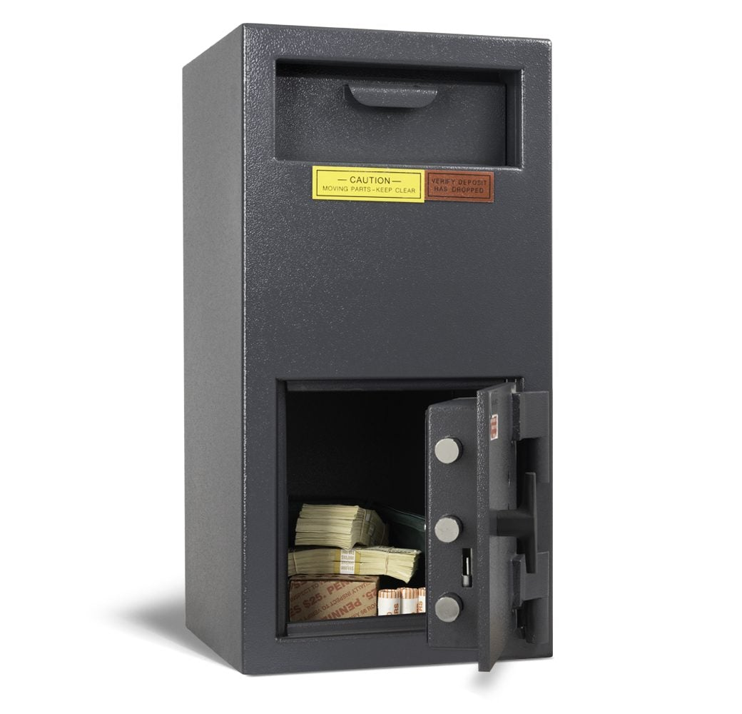 AMSEC DSF2714K Front Loading Deposit Safe Door Open Full