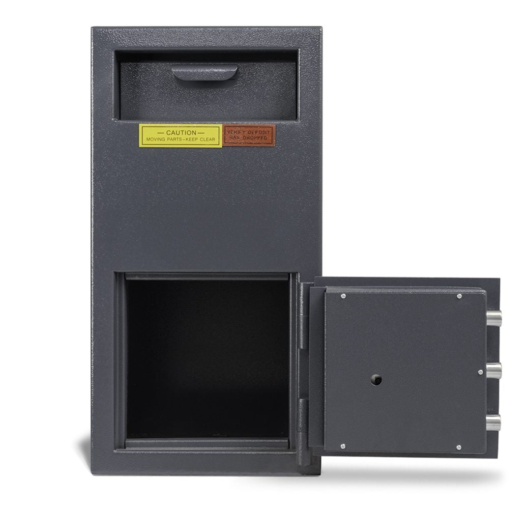 AMSEC DSF2714K Front Loading Deposit Safe Door Wide Open Empty