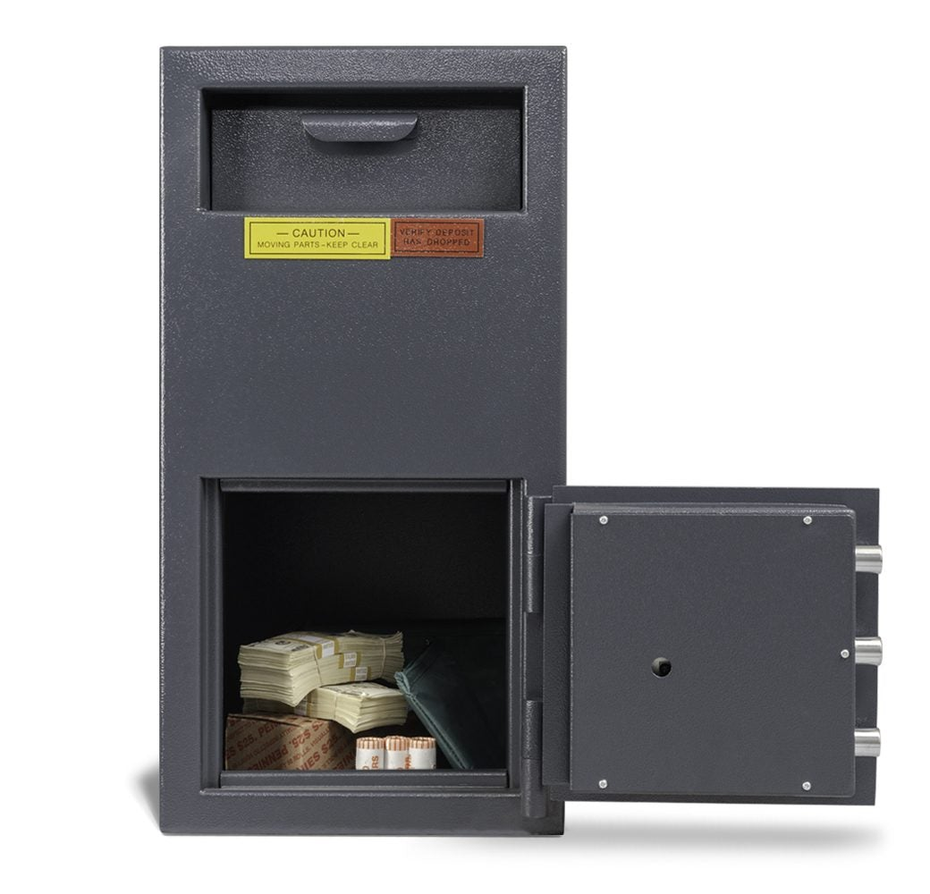 AMSEC DSF2714K Front Loading Deposit Safe Door Wide Open Full