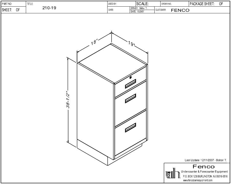 Fenco F-210 Pedestal Unit with 1 Locking Box Drawer and 2 Legal Drawers