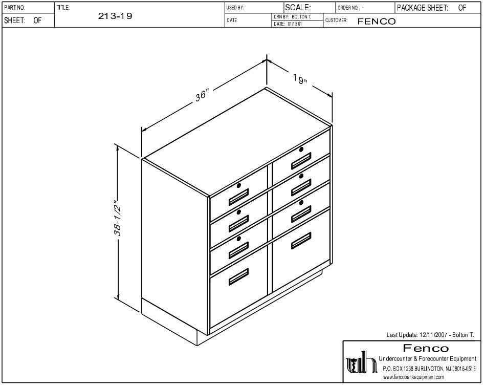 Fenco F-213 Pedestal Unit with 6 Box Drawers and 2 Legal Drawers