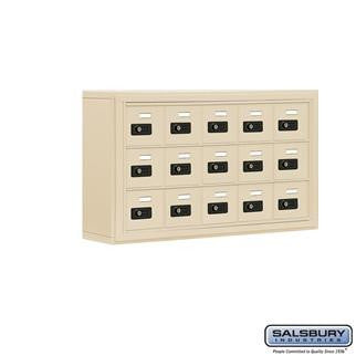 Cell Phone Lockers - Salsbury Cell Phone Storage Locker - 3 Door High Unit (5 Inch Deep Compartments) - 15 A Doors - Surface Mounted