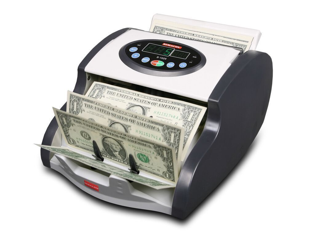 Coin And Currency Counters - Semacon S-1025 Mini Table Top Compact Currency Counter (UV/MG CF)
