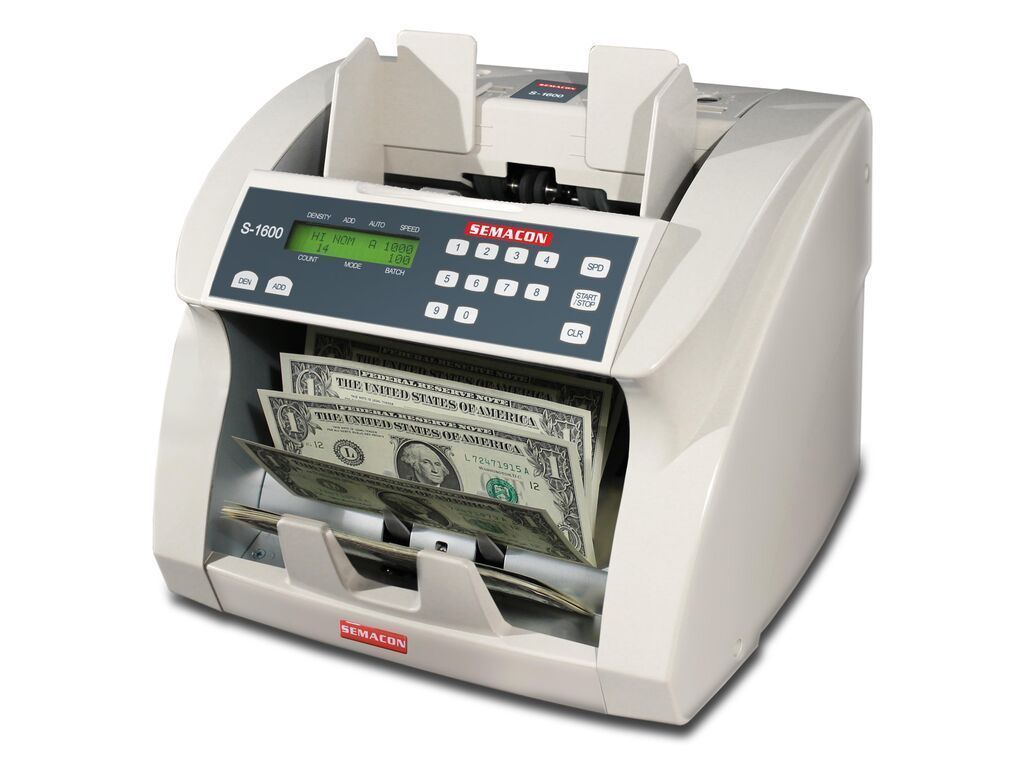 Coin And Currency Counters - Semacon S-1600V Bank Grade Currency Counter