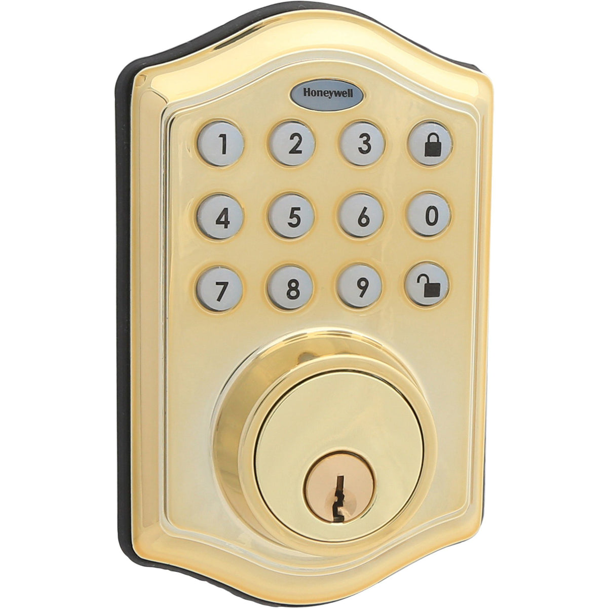 Honeywell 8712009 Electronic Deadbolt Door Lock with Keypad in Polished Brass