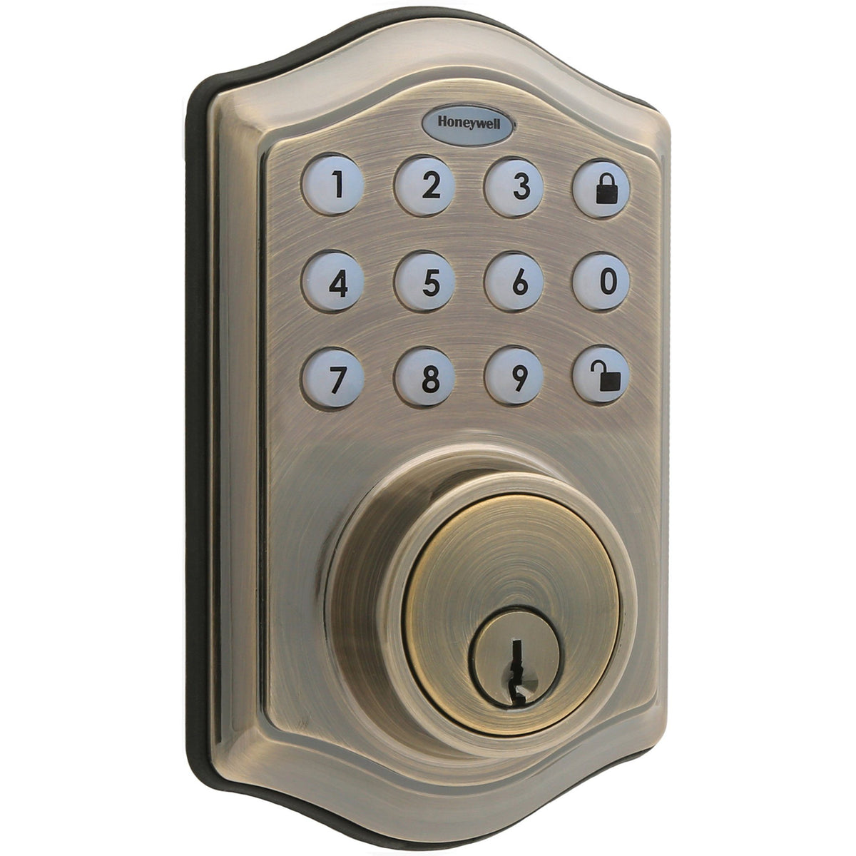 Honeywell 8712109 Electronic Deadbolt Door Lock with Keypad in Antique Brass