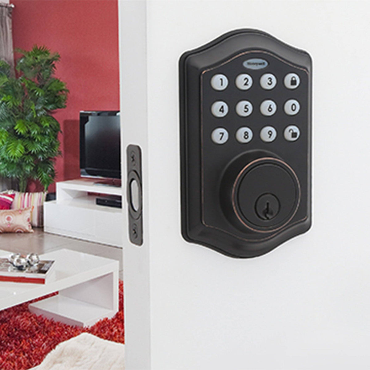 Honeywell 8712409 Electronic Deadbolt Door Lock with Keypad in Oil Rubbed Bronze