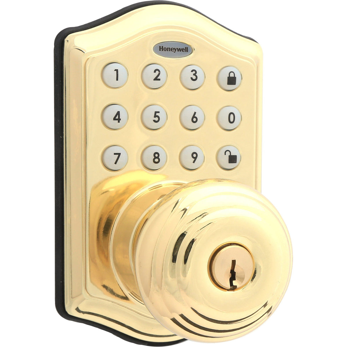 Honeywell 8732001 Electronic Entry Knob Door Lock with Keypad in Polished Brass