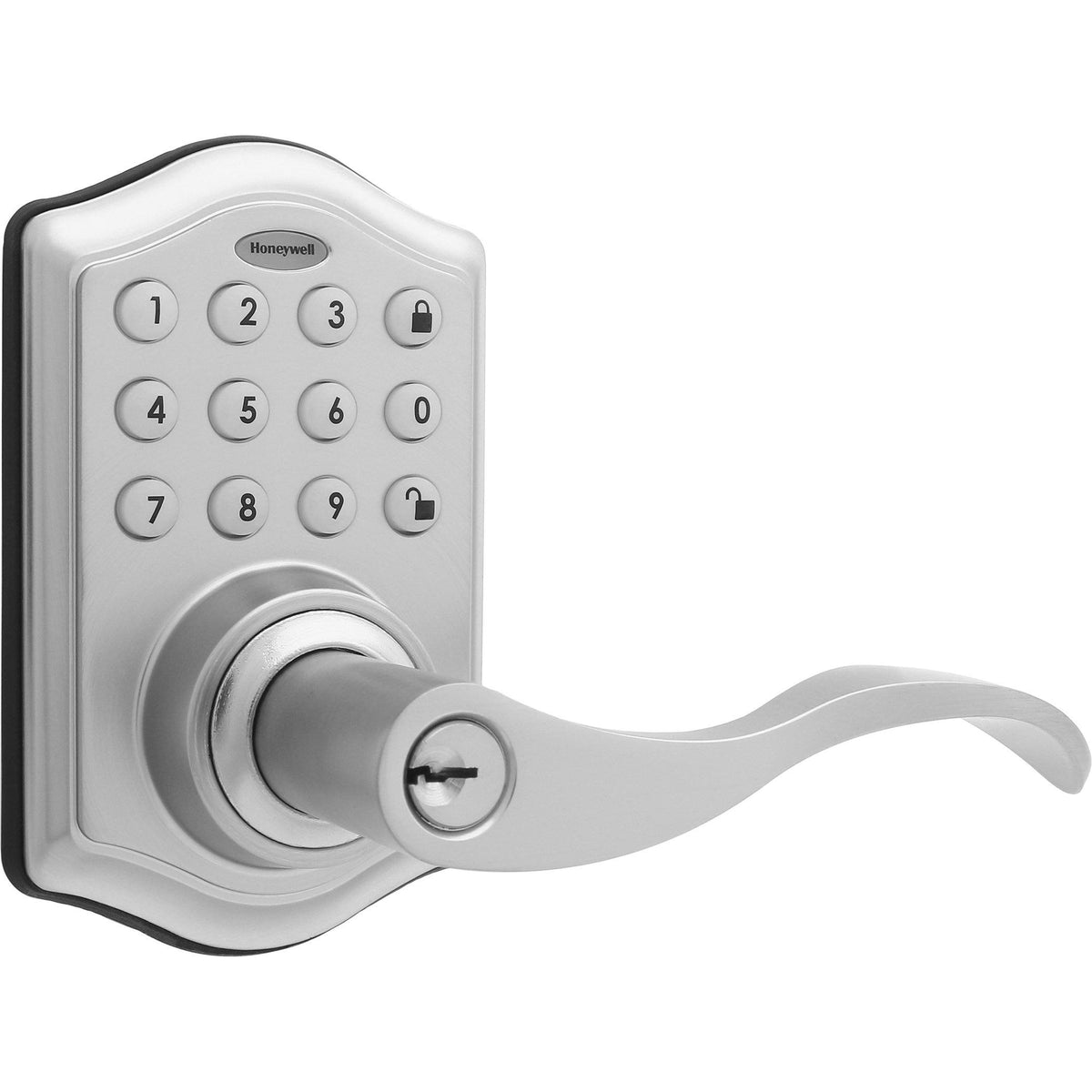 Honeywell 8734301 Electronic Entry Lever Door Lock with Keypad in Satin Nickel