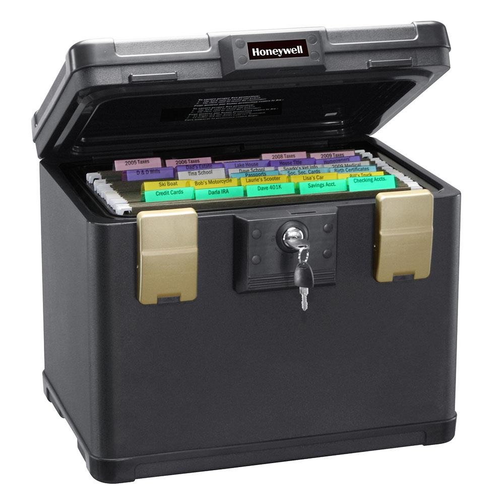 Honeywell 1106W Medium 30 Minute UL Rated Fire Safe Waterproof Filing Safe Box Chest Fits Letter And A4 Files With Wheel Cart, 0.60 Cu. Ft.