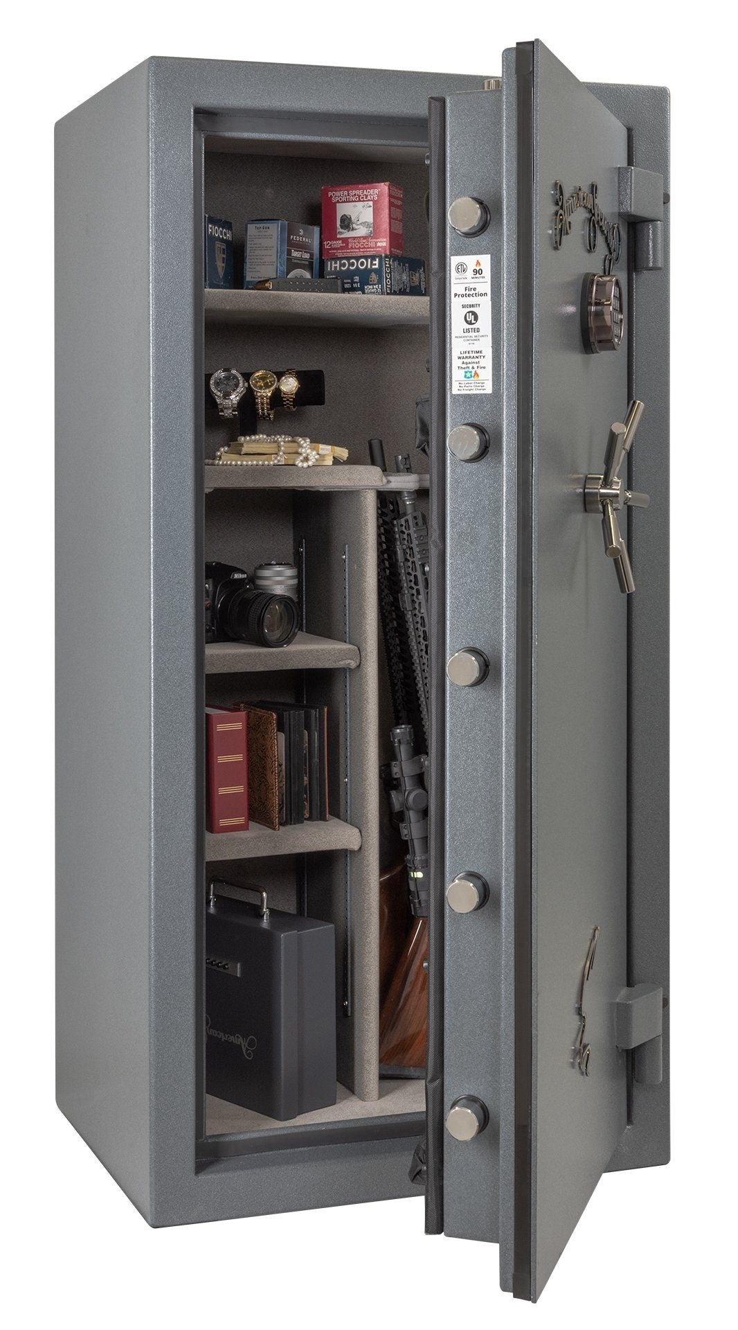 AMSEC NF6032E5 Rifle & Gun Safe with ESL5 Electronic Lock - Door Partial Open Full