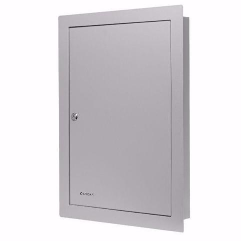 Key Cabinets - Barska CB13534 100 Keys Adjustable In Wall Key Cabinet With Flange Gray