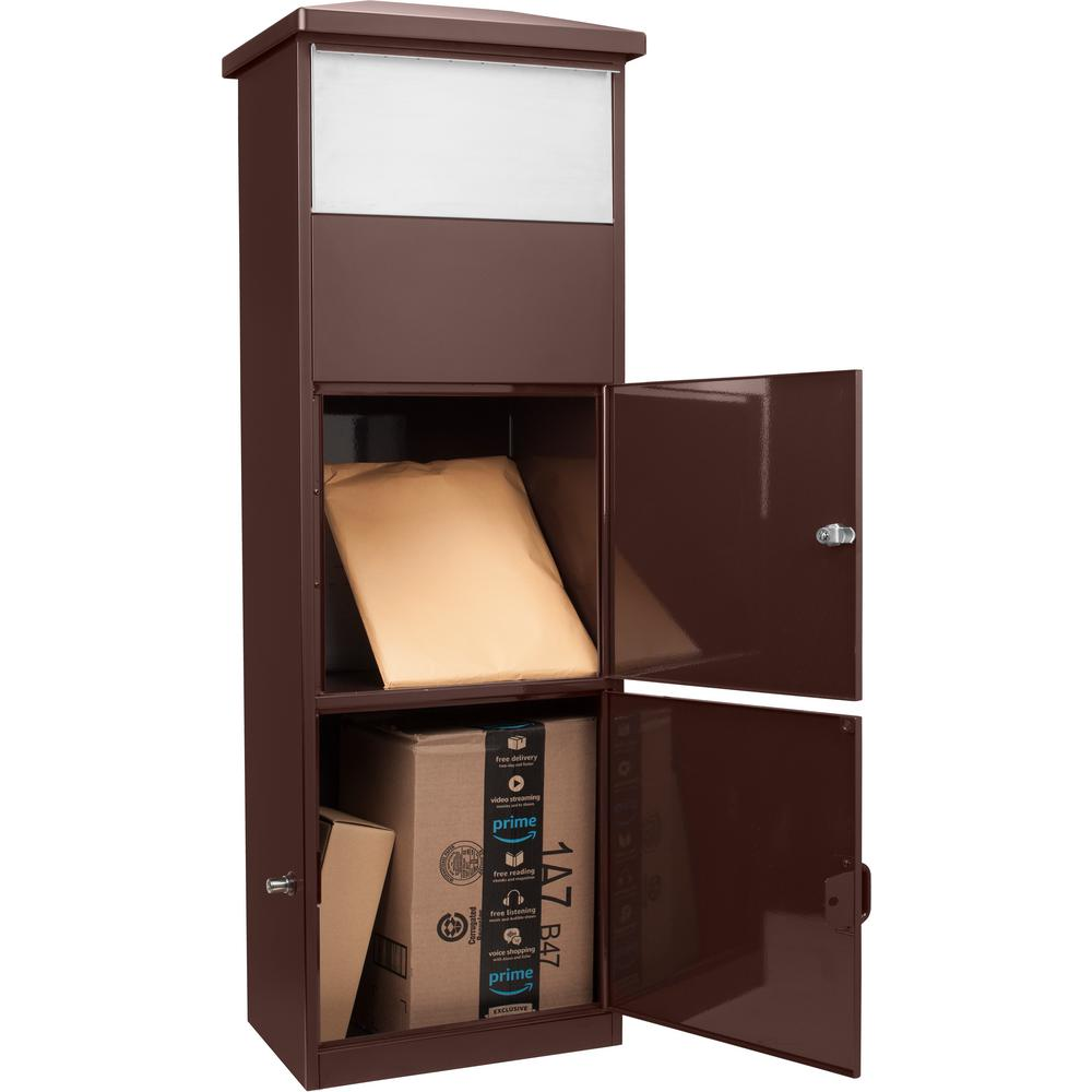 Mailboxes - Barska CB13334 Parcel Mailbox Brown With Package Compartment - MPB-600