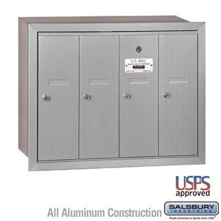 Mailboxes - Salsbury 4B Vertical Mailbox - 4 Doors - Recessed Mounted - USPS Access