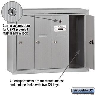 Mailboxes - Salsbury 4B Vertical Mailbox - 4 Doors - Surface Mounted - USPS Access