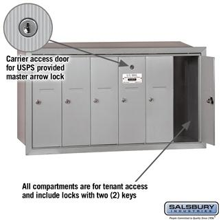 Mailboxes - Salsbury 4B Vertical Mailbox - 6 Doors - Recessed Mounted - USPS Access