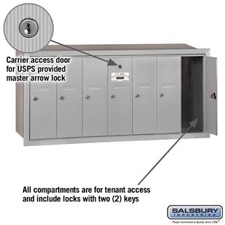 Mailboxes - Salsbury 4B Vertical Mailbox - 7 Doors - Recessed Mounted - USPS Access