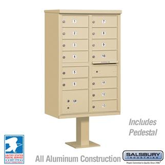 Mailboxes - Salsbury Cluster Box Unit (Includes Pedestal) - 13 B Size Doors - Type IV - USPS Access