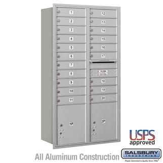 Mailboxes - Salsbury Recessed Mounted 4C Horizontal Mailbox - Maximum Height Unit (56 3/4 Inches) - Double Column - 20 MB1 Doors / 2 PL4.5's - Rear Loading - USPS Access