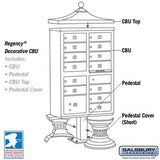 Mailboxes - Salsbury Regency Decorative CBU (Includes CBU, Pedestal, CBU Top And Pedestal Cover - Short) - 13 B Size Doors - Type IV - USPS Access