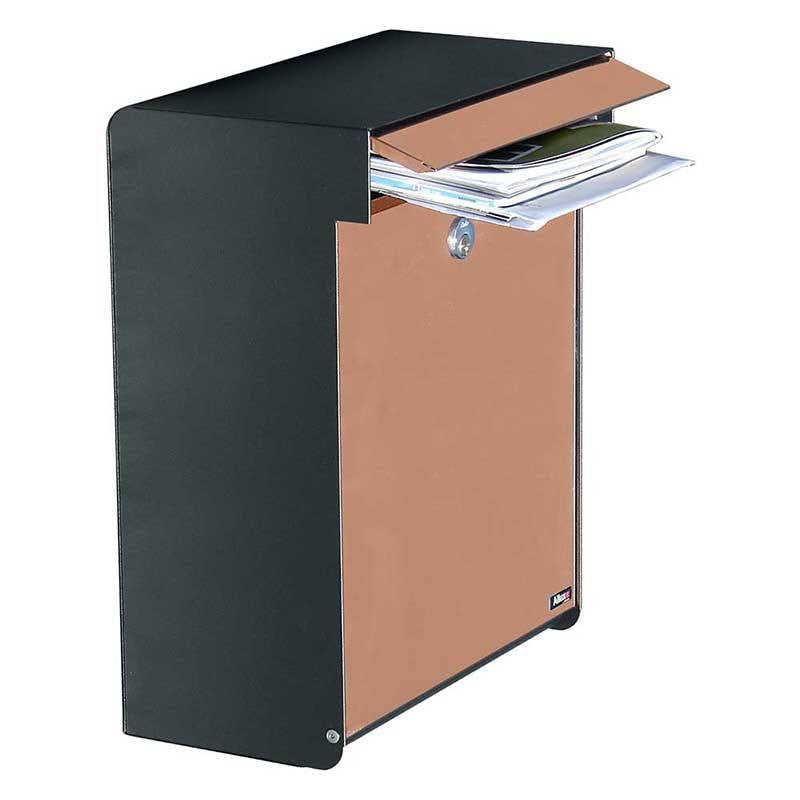 Qualarc ALX-GRM-BC Allux Grandform Locking Mailbox - Black/Copper