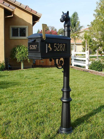 Qualarc LMC-801-BL Black Lewiston Mailbox with Fluted Base and Address Plates - Horsehead Finial Style