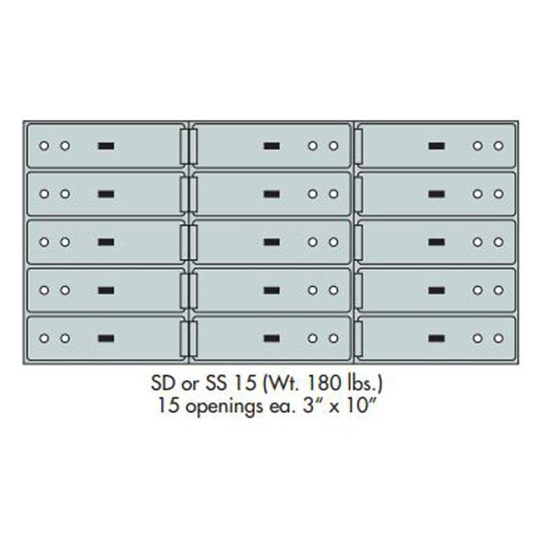 "Safe Deposit Boxes - SafeandVaultStore SD-15 Safe Deposit Boxes (15 - 3"" X 10"" Openings)"