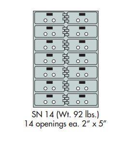 "Safe Deposit Boxes - SafeandVaultStore SN-14 Safe Deposit Boxes 14 - 2"" X 5"" Openings"
