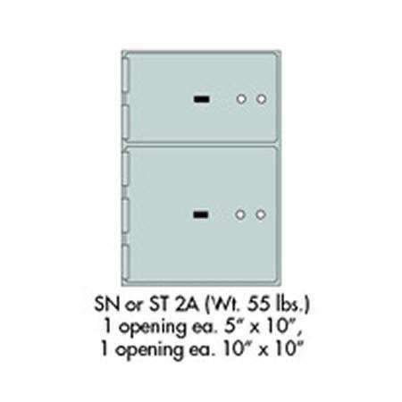 "Safe Deposit Boxes - SafeandVaultStore SN-2A Safe Deposit Boxes 1 - 5"" X 10"" 1 - 10"" X 10"" Openings"