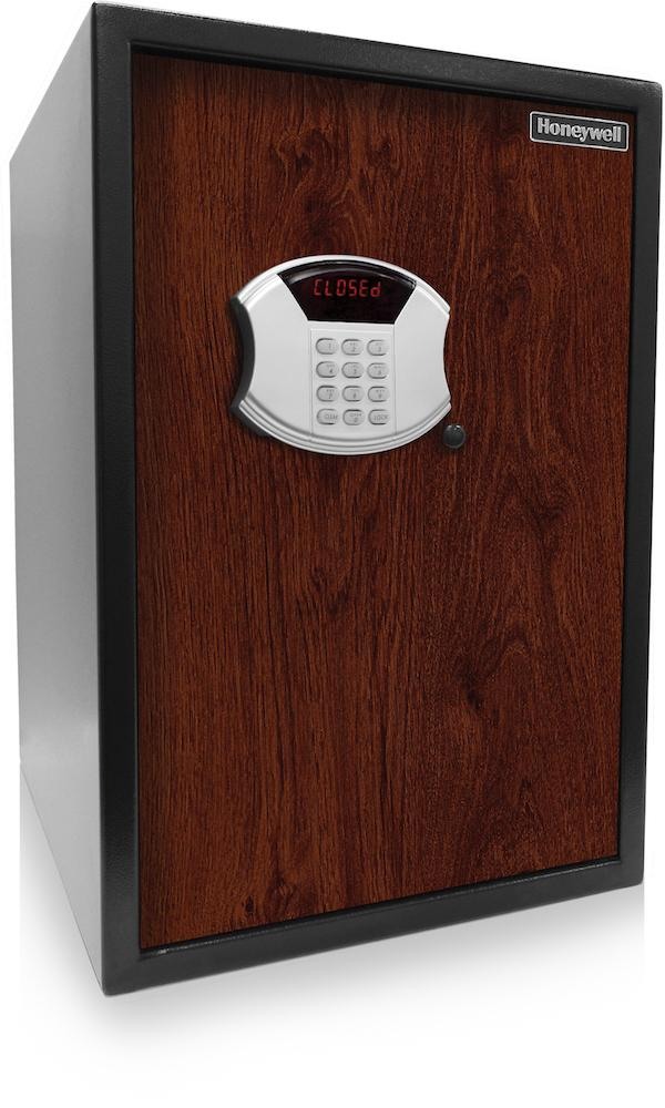 Security Safes - Honeywell 5107SA Digital Security Safe With Depository Slot Faux Wood Door Panel Cherry