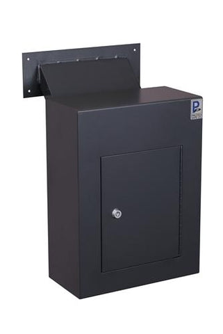 Through The Wall Depository Safe - Protex WDC-160-Black Wall-Mount Locking Drop Box With Chute