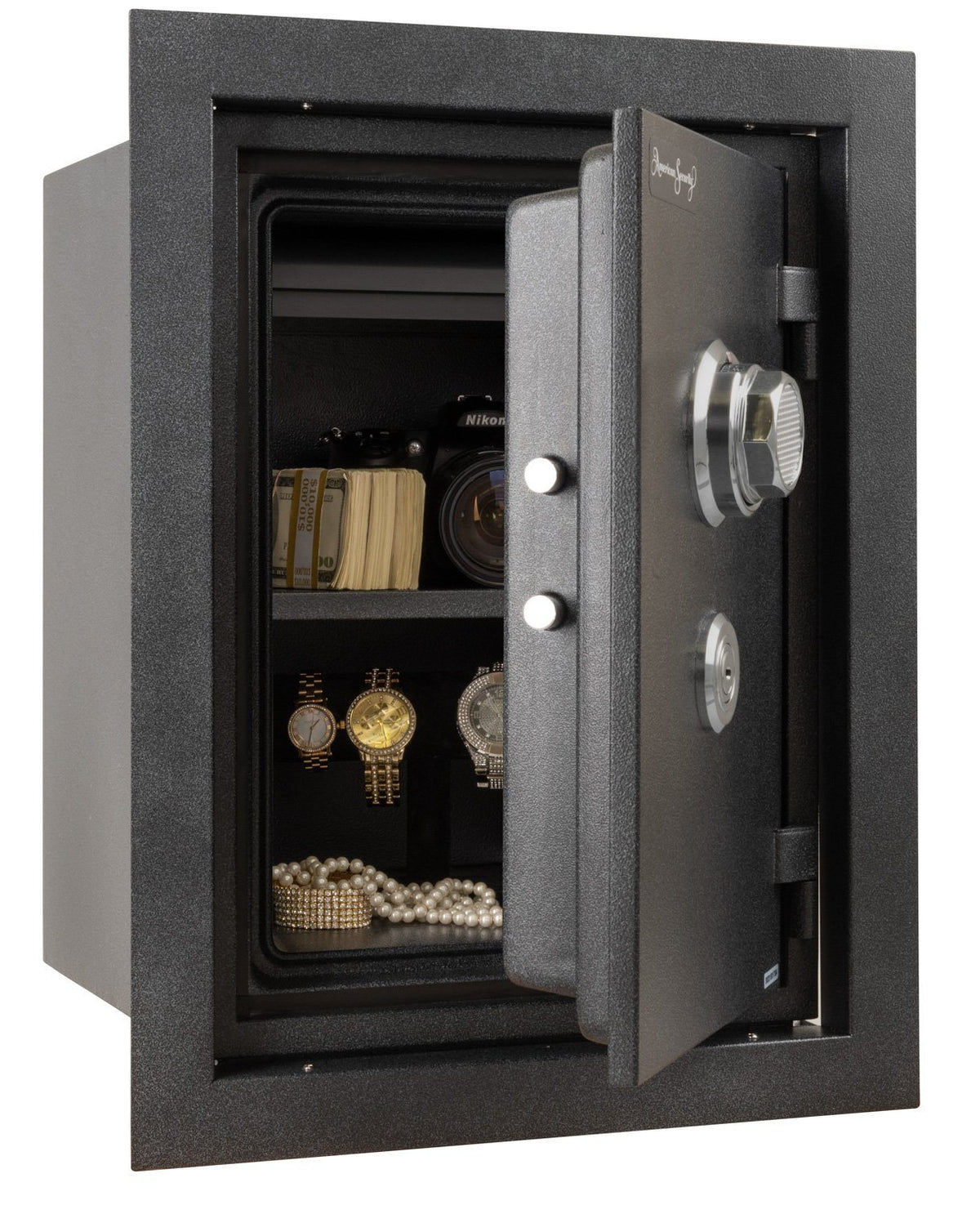 AMSEC WFS149 Fireproof Wall Safe Door Open Full