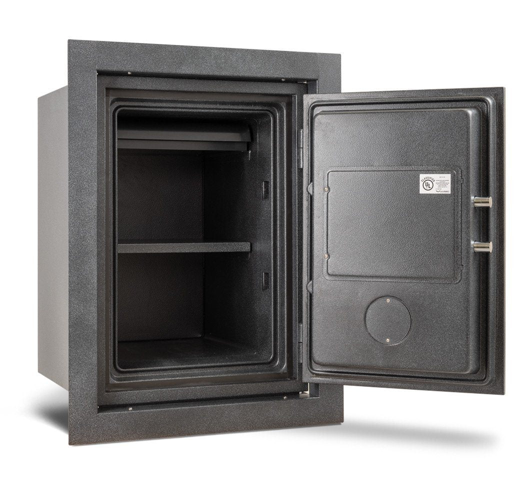 AMSEC WFS149 Fireproof Wall Safe Door Wide Open Empty