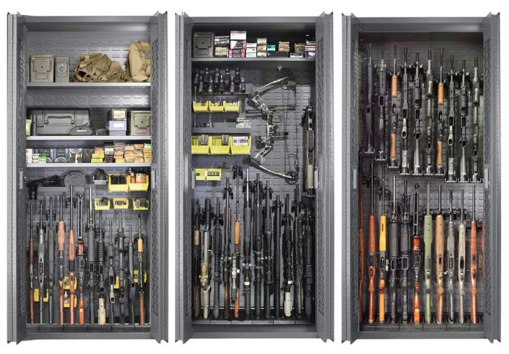 Weapon Cabinets - SecureIt Tactical SEC-300-24B Model 84: 24/24 Locking Steel Gun Cabinet