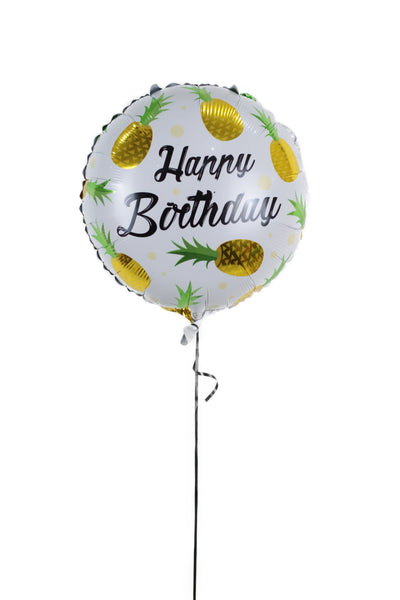 Happy Birthday Golden Pineapple Foil Balloon