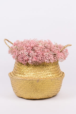 Golden Basket of Pink Flowers