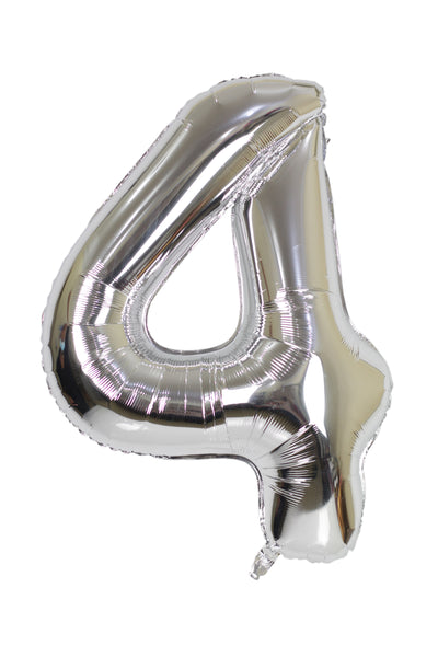 Number 4 Silver Foil Balloon