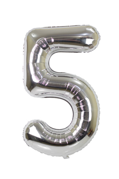 Number 5 Silver Foil Balloon