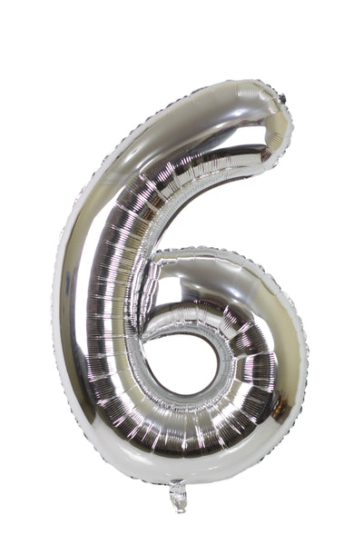 Number 6 Silver Foil Balloon