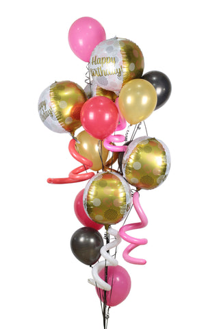 Happy Birthday Golden Balloon Bouquet