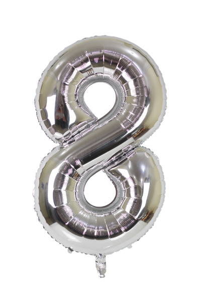 Number 8 Silver Foil Balloon