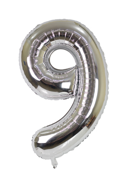 Number 9 Silver Foil Balloon