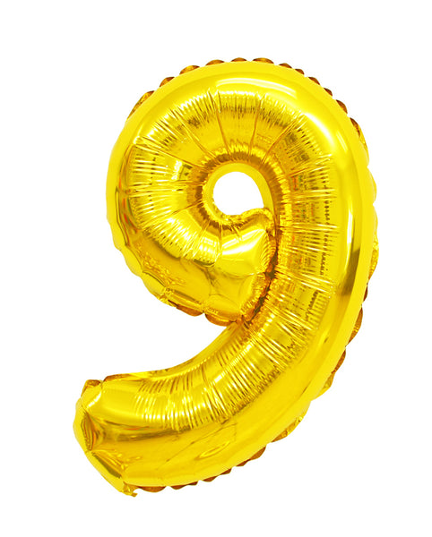 Number 9 shaped foil balloon
